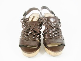 ENZO ANGIOLINI Women's Brown Sandals Platform Cork Wedges Sling Back  Si... - $25.24