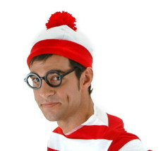 Where's Waldo Licensed Red and White Costume Pom Beanie Hat, NEW UNWORN - $12.59