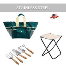 7 pcs Garden Tool Bag Set with a Folding Stool   - £19.04 GBP