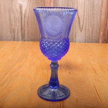 Vintage Blue Fostoria Avon George Washington Goblet  - $17.75