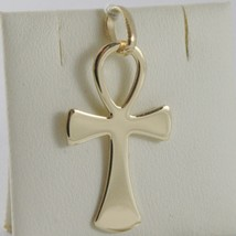 SOLID 18K YELLOW GOLD CROSS, CROSS OF LIFE, ANKH, SHINY, 1.26 INCH MADE IN ITALY image 2