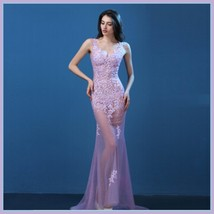 Sheer Chiffon Sleeveless Floral Lace Mermaid Summer Wedding Boudoir Beach Gown image 9