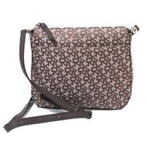 NWT DKNY Town & Country Jacquard Logo Crossbody Bag Messenger Brown R74E... - $63.36