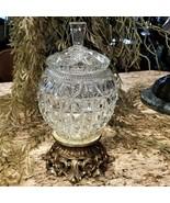 Vintage Cut Glass Crystal Lidded Candy Dish on Ornate Brass Pedestal - $149.95