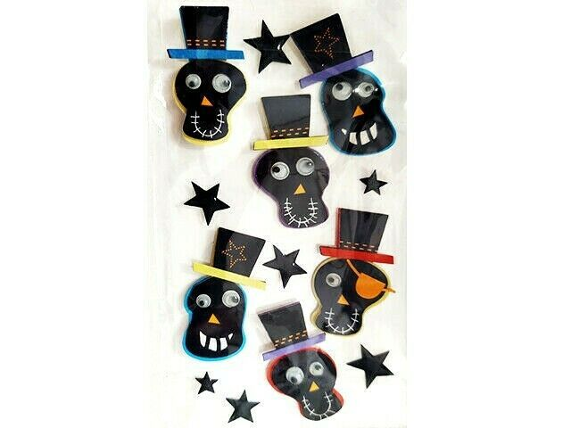 Dimensional Skulls with Top Hats & Googly Eyes Stickers, Perfect for Halloween!