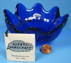 Blenko Cobalt Blue Art Glass Clover Bowl Original 5.5 Inch With Tag Husted 1970s - $24.00