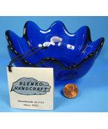 Blenko Cobalt Blue Art Glass Clover Bowl Original 5.5 Inch With Tag Hust... - $24.00