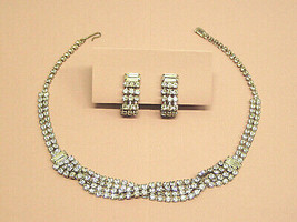 Vintage Rhinestone Necklace Earrings set Costume Jewelry demi parure cho... - $23.75