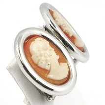 White Gold Earrings 750 18K, Cameo Sculpted Oval, Face Women's, Clips image 1