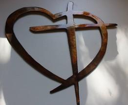 "Heart & Cross Copper/Bronze Large 24"" Wide Hanging Metal Wall Art Decor - $39.59"
