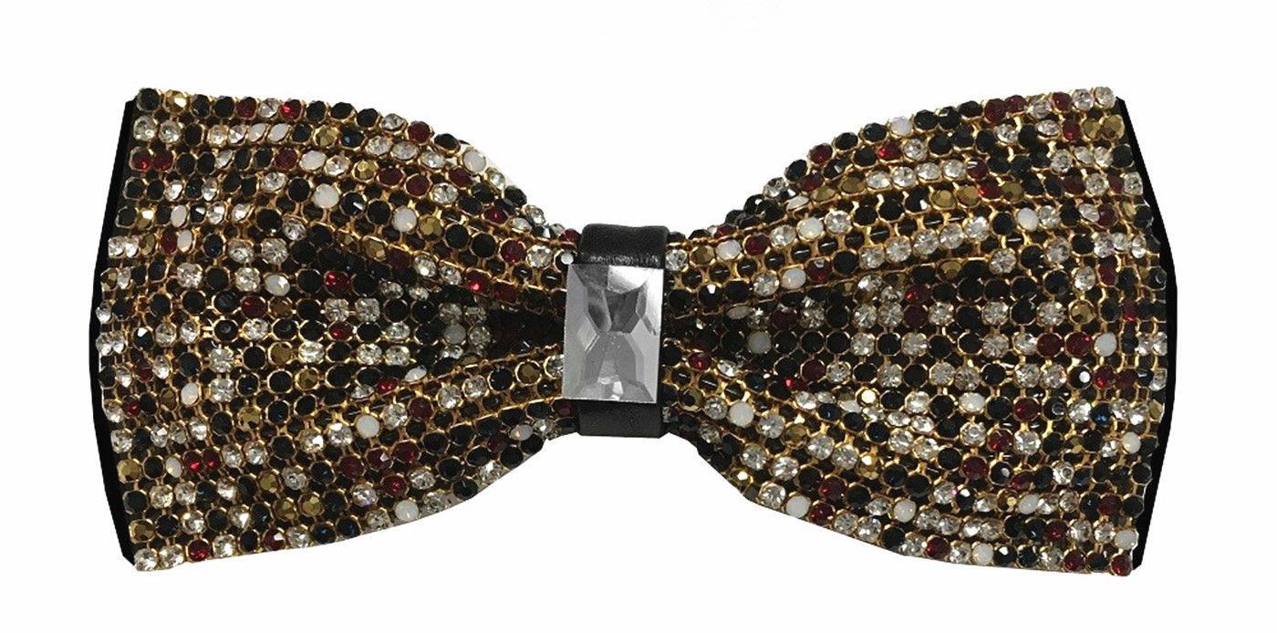 Deluxe Glitter Crystal Rhinestone Pre-tied Tuxedo Bow tie Wedding Prom Party
