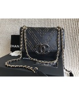 100% AUTH Chanel Black Leather Gold CHEVRON LIMITED EDITION Flap Bag - $3,688.00
