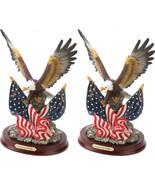 2 PATRIOTIC BALD EAGLE Statues Wings Spread American Flags Sculpture - $53.95