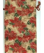 Christmas Fabric Wine Bottle Gift Bag Holiday Poinsettia - $12.86