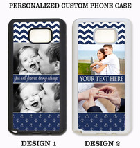 PERSONALIZED CUSTOM IMAGE PHOTO NAVY CHEVRON CASE For Samsung Galaxy S8 ... - $13.88+