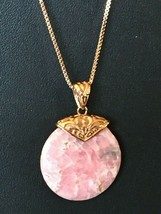 "Pink Rhodochrosite pendant & Copper chain 18"" NEW. Never worn - $68.26"