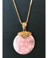 "Pink Rhodochrosite pendant & Copper chain 18"" NEW. Never worn - $68.26"