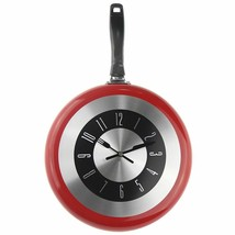 Frying Pan Wall Clock Novelty Creative 12 Inches Metal Decor Quartz Home... - $40.40