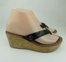 Sam Edelman Womens Wedge Sandals Size 6 Flip Flop Black Thong Sandal Shoe - $14.01