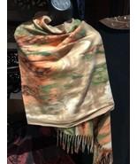 Vintage Style Watercolor Orange Green Beige Shawl Scarf Wrap - $36.20