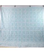 """Vtg Turquoise & White Star Ring Inlay Duvet Blanket Cover King Size 92"""" ... - $38.60"""