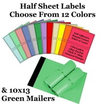 10x13 ( Green ) Poly Mailers + Colored Half Sheet Self Adhesive Shipping... - $2.99+