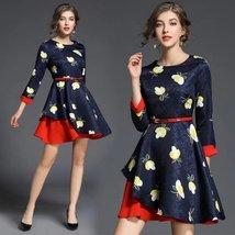 Spring fashion temperament nine sleeves jacquard splicing Slim wild dress - $59.00