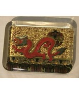 Glass Paperweight Chinese Dragon Hand Painted Scenic Paper Inside Felt B... - $29.99