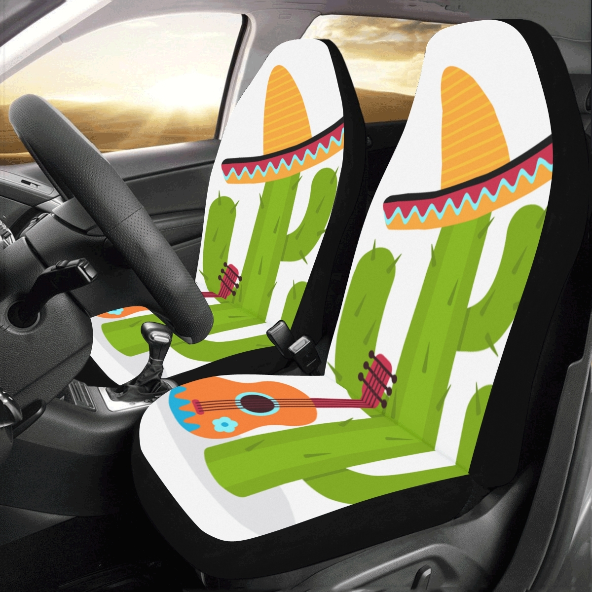 Funny Cute Green Plants Cactus Universal Fit Auto Drive