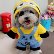 Funny Dog Cat Costume Halloween Cute Puppy Clothe Minion Despicable S M ... - $10.21+