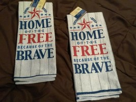 """Set of 2 Home Collection Patriotic Towels """"HOME OF THE FREE BECAUSE""""  15... - $8.00"""