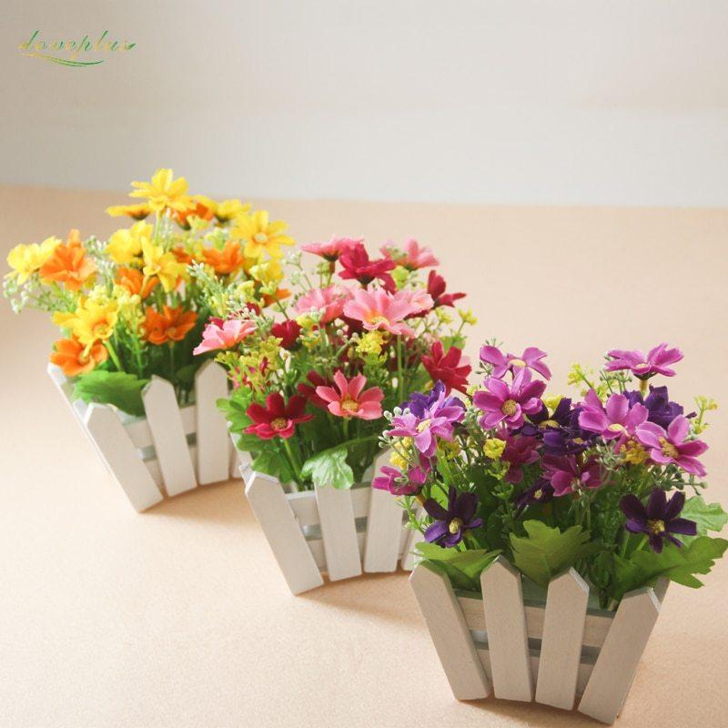 Zinmol Wedding Decorative Simulation Artificial Flowers Small Potted Plant Fake