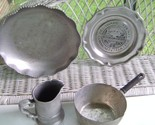 Forged Aluminum Repousse Serving Dish & Pewter Collectibles
