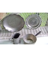 Forged Aluminum Repousse Serving Dish & Pewter Collectibles - $12.00