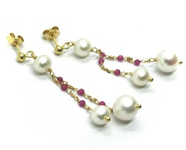 18K YELLOW GOLD PENDANT EARRINGS, DOUBLE WIRE FW PEARLS AND RED CUBIC ZIRCONIA image 2