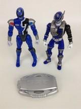 "Power Rangers SPD Blue Ranger 6"" Action Figures w Badge 2pc Lot Bandai 2004 - $12.42"