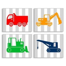 Gray Stripe Construction Vehicle 4 Piece Wall A... - $71.99