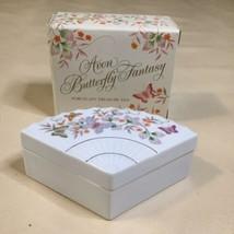 Vtg 1980 Avon Porcelain Butterfly Fantasy Treasure Fan Trinket Box 22K T... - $14.84
