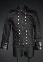 Men's Black With Vegan Leather Military Jacket Zip Front Steampunk Goth ... - $71.53