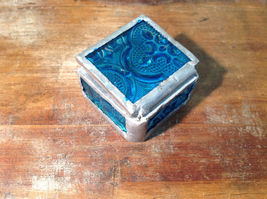 Teal Embossed Glass Ring Box Mirrored Bottom Paisley Designed Glass Handmade image 3