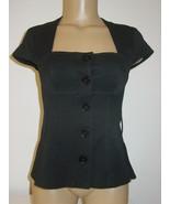 Express Design Studio Women Black Bustier Style Blouse Top Button Front ... - $12.82