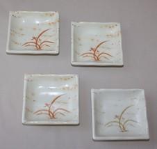 Set 4 Tar-Hong Gold Orchid Sushi Sauce Dishes Bowls Melamine Brown Grass... - $16.78