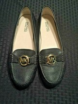 Michael Kors Leather Logo Driving Mocs Size 9 M Black Pebbled Leather EUC - $37.04