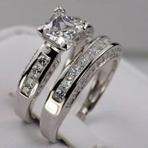 14k White Gold Sterling Silver Princess Diamond Cut Engagement Wedding R... - $105.17