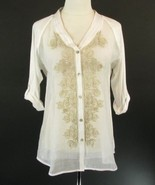 NIC & ZOE Size L 12 14 White Embroidered Voile & Knit Blouse Mint Cond - $49.99