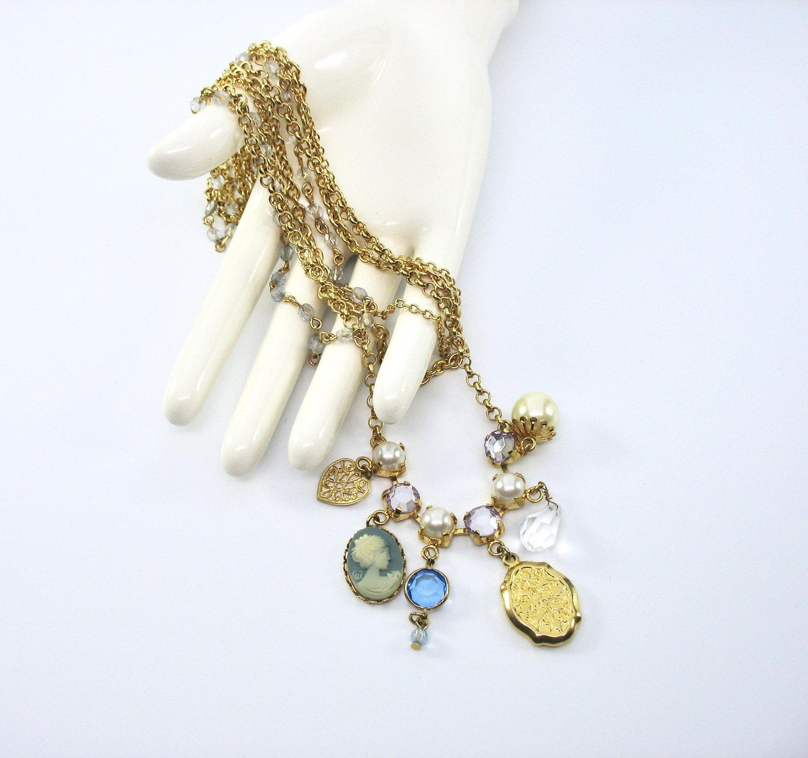 Multiple Chain Necklace, Multi Chains, Boho, White Pearls, Rhinestones, Cameo, C