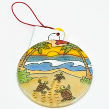 Baby Sea Turtle Hatching Fused Art Glass Ornament Sun Catcher Handmade Ecuador