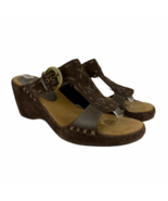 Naturalizer Slip On Sandals 8.5 Brown Leather Wedge Heel Woven Open Toe ... - $28.84
