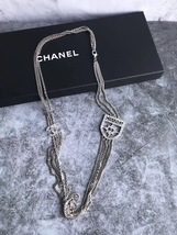 NEW Authentic Chanel Crystal Shield CC Logo Long Multi Chain Necklace Silver