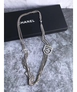 NEW Authentic Chanel Crystal Shield CC Logo Long Multi Chain Necklace Si... - $1,499.99